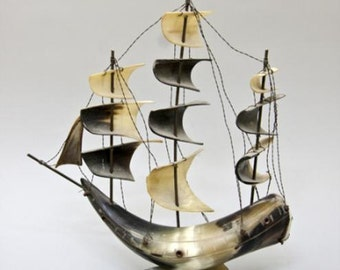 Old Vintage Model Sailing Ship Made Entirely of Horn, H 12.5 ""