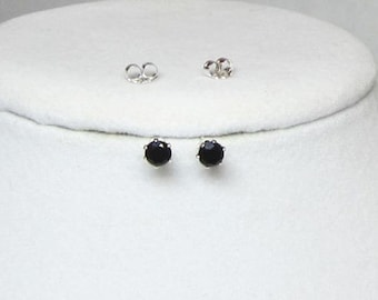 Black Studs, Onyx Earrings, Faceted Gemstone, Gold Filled, Sterling Silver, 14kt Gold Fill