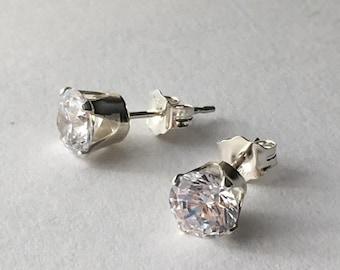 Diamond White Cubic Zirconia Stud Earrings. Sterling Silver Earrings. Brilliant White CZ Earrings. Wedding Earrings. Bridesmaid Earrings
