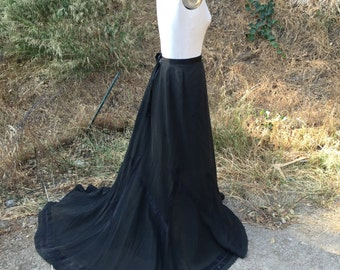 Antique Victorian black Skirt w/ Train Edwardian