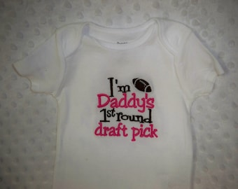 Football Bodysuit - I'm Daddy's 1st Round Draft Pick - More Colors Available - Pink Football - Girl Football Pink and Brown Football Baby