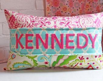Name Pillow for Girl, Girly Pink, Colorful, Feminine, Kumari Garden, Personalized Nursery Decor, Baby Shower Gift, Kids Room, Teja Fabric