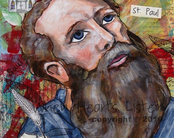 St. Paul the apostle - confirmation gift - religious gift - confirmation gift for boy - painting of saint - personalized art