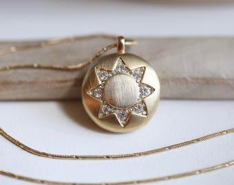 Vintage Gold Locket Necklace, Rhinestone Locket Necklace, Monet Necklace, Vintage Necklace, Gold Tone Rhinestone Locket, unique locket
