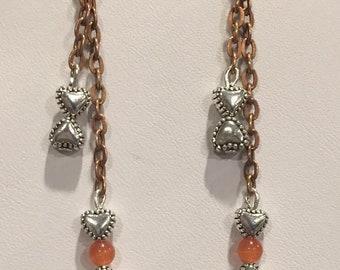 Natural Orange Opal Earrings