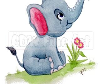 Personalised Cuddly Elephant Print