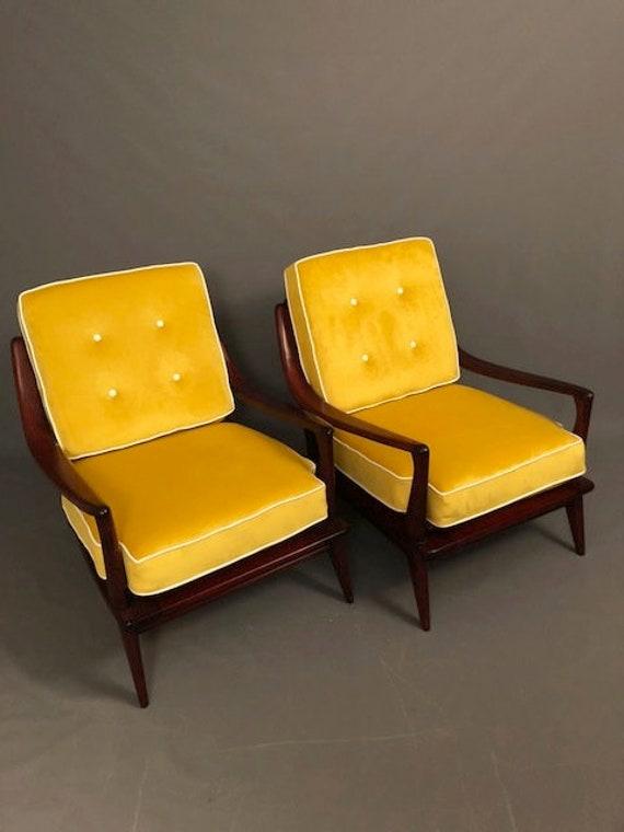Mid-Century Heywood Wakefiled Pair Restored Club Chairs