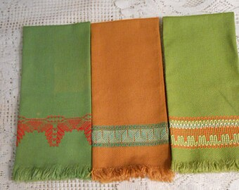 3 Cotton Huck GEO TEA TOWELS Olive Russet Swedish Embroidery Green Red Orange Yellow Designs Washable 16 x 24 1960s Handmade Unused Vintage