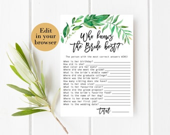 Who Knows the Bride Best Editable Greenery Bridal Shower Game Bridal Shower Printables Bridal Shower Know The Bride Quiz Know the bride game