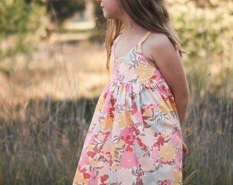 Hummingbird dress , girls floral summer dress, girls dress