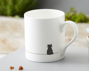 Sitting Cat Mug, Crazy Cat Lady Mug, Cat Lover Gift, Fine Bone China, Gift for Cat Lover, Black Cat Mug, Boxed Mug, Cat Lover Gift