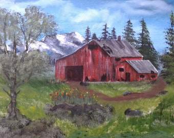 Old Barn trees Mountain rustic Western snow capped mountains