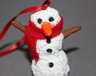 Handmade Polymer Clay Snowman with Scarf