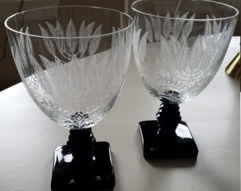 Pair of Fostoria Crystal Stemmed Water Goblets Etched