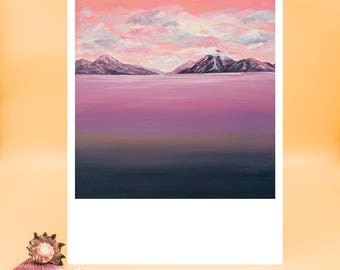 Mountains, Acrylic, Painting, Art Print, Fine Art Print, Landscape, Art, Clouds, Fantasy, Sunset, Sky, Print, Nature, Scenery, Pink, Purple