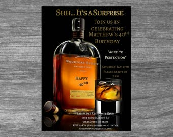 Adult Liquor Birthday Invitation / Whiskey Invitation / Liquor / Bourbon Invitation / Mens Birthday Invitation / Mens / Adult Invitation
