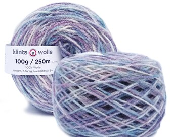 """Hand paint pure wool knitting yarn """"Sally"""" DK 3-ply worsted 50g/125m cake"""