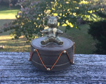 Music Box Teddy Bear Brass Music Box