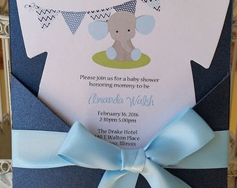 Baby Elephant Baby Shower Invitation- Blue and Gray Baby Shower Baby Boy Shower - Custom Die Cut Invitation