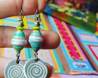 Liz-Ha Color Junkie Monoprint Scraps Paper Bead Earrings with Heartstone Gallery Ceramic Charms, Liz Carlson paper