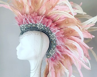 Pink feather mohawk, feather headdress, burning man headdress, burner style feather headdress, boho feather mohawk, festival headpiece,