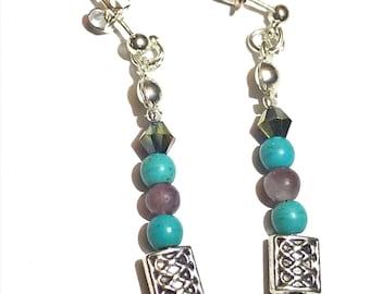Celtic earrings, turquoise earrings, lepidolite earrings, turquoise and purple, gemstone earrings, Celtic jewellery, 925 plated