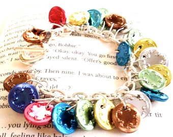 Colorful Vintage Metal Button Charm Bracelet