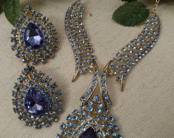Blue and Purple Rhinestone Necklace Set, Rhinestone Earrings, EXQUISITE Runway Formal Event Vintage Set, Exquisite Pieces, Formal Event