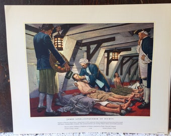 James Lind: Conqueror of Scurvy/Morgagni & Pathologic Anatomy Vintage Lithograph USA Prints History Of Medicine In Pictures