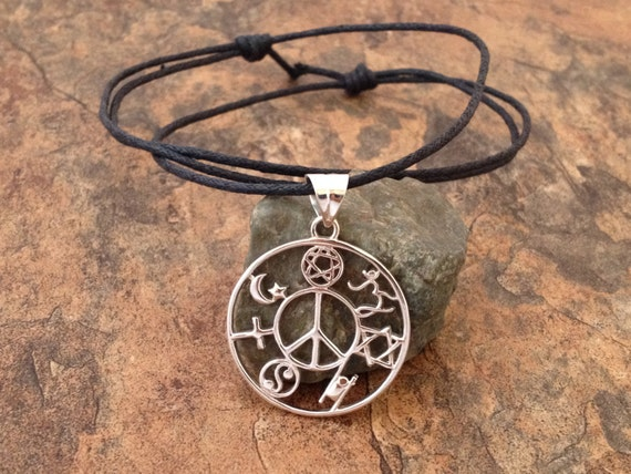 Waxed cotton cord coexist silver pendant necklace with aloadofball Gallery