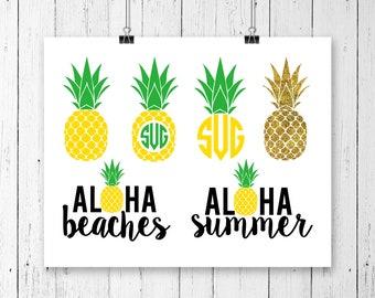 INSTANT DOWNLOAD! SVG, Pineapple Monogram Frame Svg, Aloha Beaches, Glitter Pineapple Svg, Pineapple svg, Pineapple Clipart, Summer Svg,