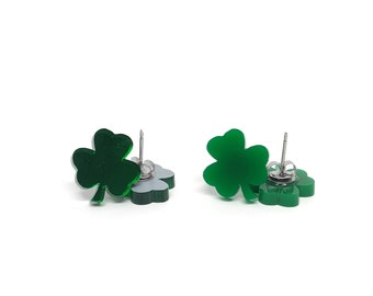 Shamrock Earrings - St. Patricks Day - Handmade - Laser Cut Jewelry
