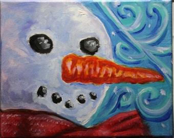 Snowman original  8x10 acrylic painting