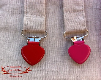 Pink heart clips for adjustable handles