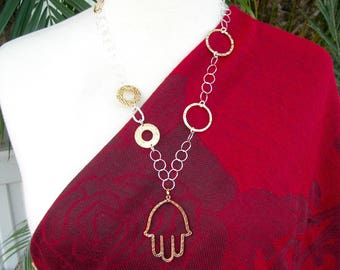 Reversible Copper & Silver Hamsa, Italian 14K Gold and Sterling Silver Asymmetrical Chain, Silk Road Collection, Necklace by SandraDesigns