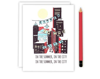 Summer Greeting Card - Summer In the City - Greeting Card - Illustrated City Card