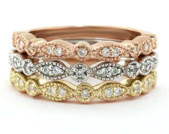 Set of 3 Stacking Rings 14k Gold and Diamond Stackable - Rose Gold White Gold Yellow Gold