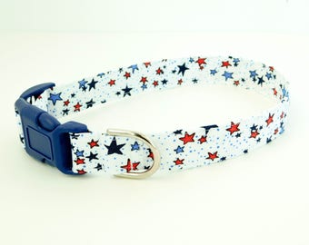 White Stars 4th of July Independence Day Dog or Cat Collar