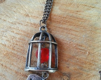 Caged heart necklace