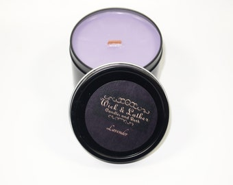 Lavender Candle, Candle, Scented Candles, Tin Candles, Wood Wick Candle, Gift, Soy Wax, Soy Candle