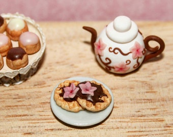 Miniature chocolate waffles in 1 inch scale - flowers in the air collection