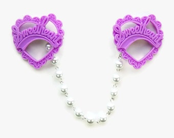 Purple Heart Sweater Clip - Resin lavender Sweetheart and White Pearls - Rockabilly Pinup - Cardigan Clip - Sweater Guard - Sweater Clasp