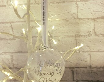 In loving memory remembrance personalised handmade bauble. Feathers appear when angels are near ribbon