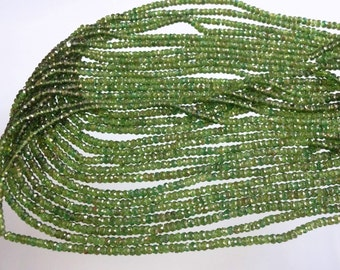 14-inch Natural Green Tourmaline micro faceted beads size 3mm GW1817