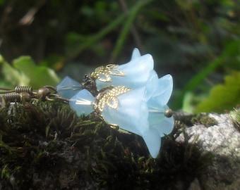 AQUA FLOWER EARRINGS, turquoise bellflower earrings,  flower dangle earrings, gift for women, fairy earrings, gold bronze, 1.77 inch