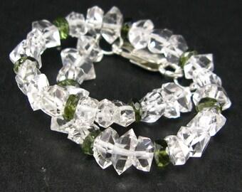 "Herkimer diamond Quartz & Moldavite bracelet  - 7.5"""