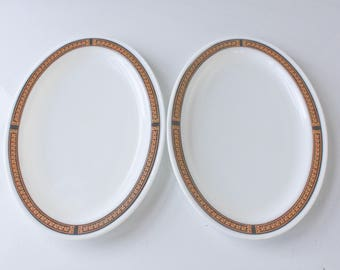 Pair of Vintage Pyrex Ebony Serving Plates-Oval Platters