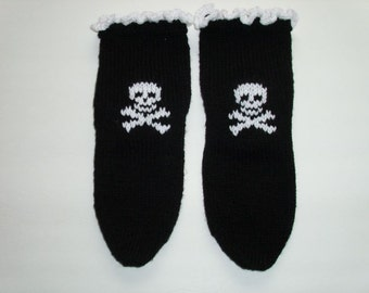 Gothic  Socks with  Skull and Crossbones white color design. White  color Ruffled  Cuffs.  Hand knit. Ready to ship.
