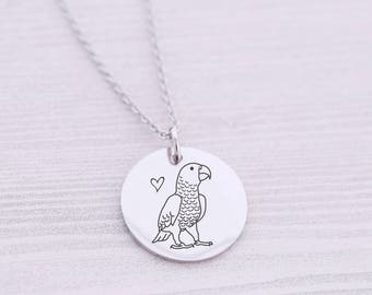 Parrot Necklace - African Grey - Bird Lover - Engraved Jewelry - Congo African Grey - Cockatoo - Bird Mom - Pet Jewelry - Laser Engraved