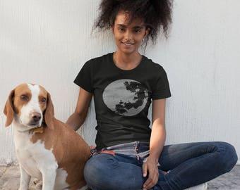 Womens luna vintage style t-shirt heather black ,moon shirt, size 8 - 20